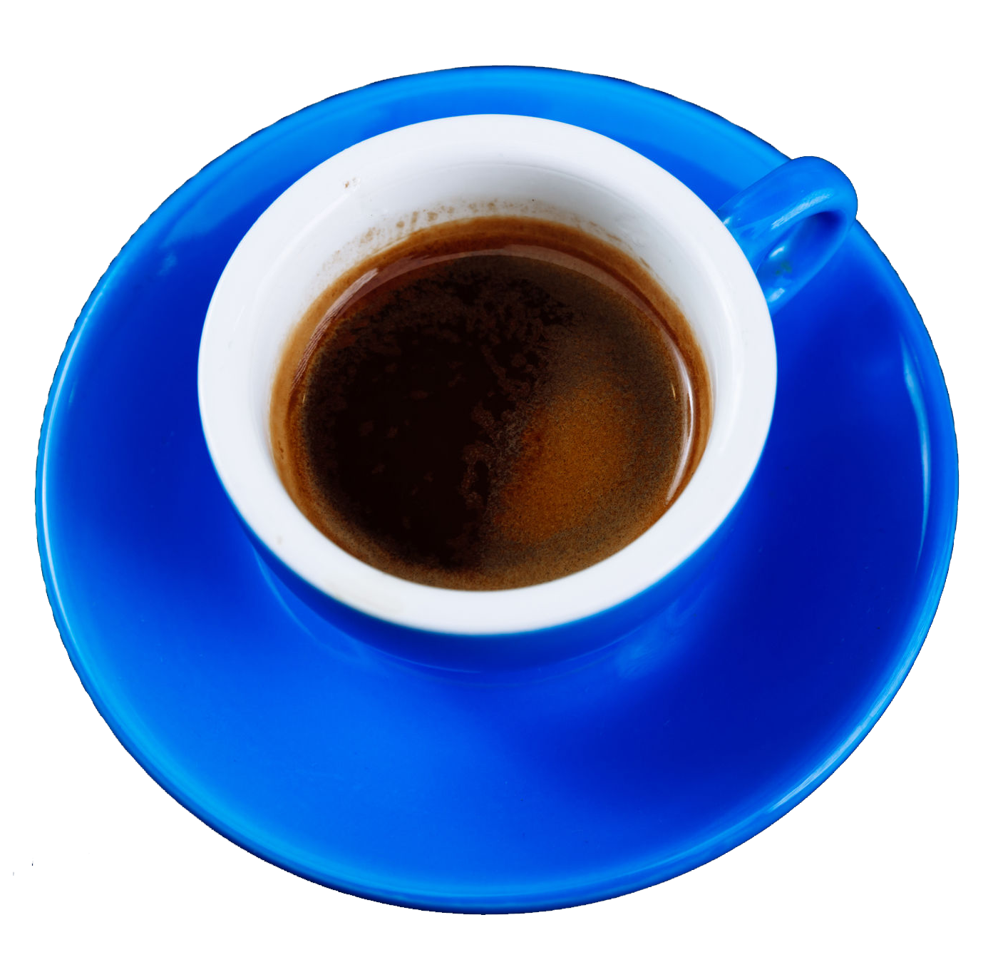 Blue cup of coffee in a saucer